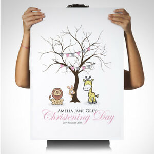 Personalised Winnie the pooh Keepsake Fingerprint Tree Personalised Wedding Birthday Canvas Print