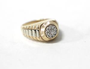 14k Yelow & White gold Diamond Cluster  Man's Ring Size 7.5