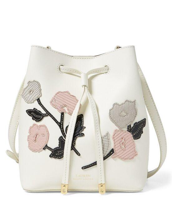 8f83deeb091f Ralph Lauren Mini Debby II Floral Drawstring Bag (Vanilla Multi White)