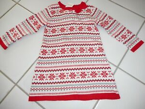 970fa2075aea8 NWT GYMBOREE Girl 18 24 M Snowflakes Winter Sweater Dress White Red ...