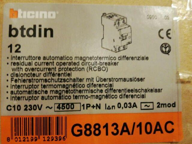 BTICINO INTERRUTORE MAGNETOTERMICO DIFFERENZIALE G8813A//10AC 10A 4,5kA SALVAVITA