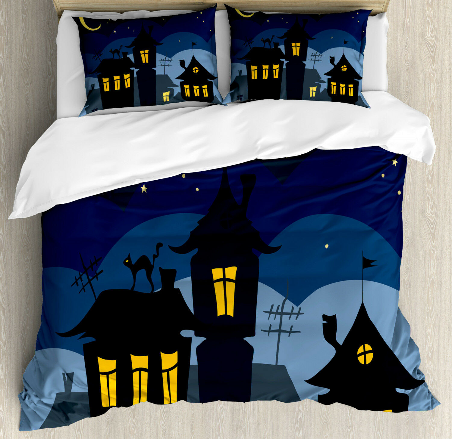 Halloween Duvet Cover Set with Pillow Shams Cartoon Town with Cat Print