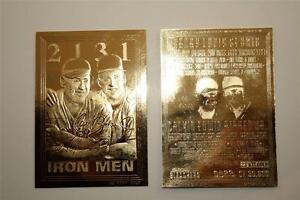 Cal-RIPKEN-amp-Lou-GEHRIG-1995-Iron-Men-23KT-Gold-Card-Serial-039-d-NM-MT-BOGO