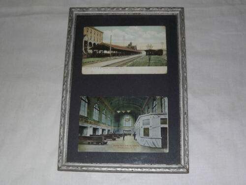 VINTAGE 2 EARLY 1900S NYC RAILROAD STATION SCHENECTADY NY FRAMED POSTCARD
