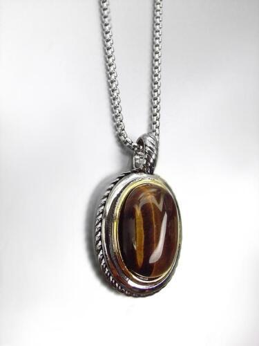 Magnifique Designer Balinais Argent Câble Ovale Tigers eye stone Clip Boucles D/'oreilles