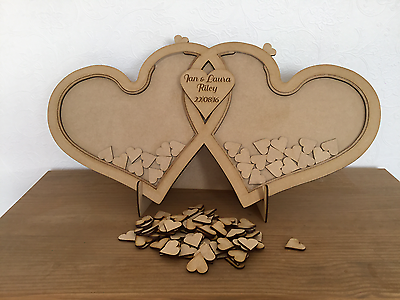 Wedding Drop Box Personalised Double Heart Guest Box Hand Crafted In Uk Ebay