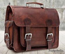 Large Brown Vintage Style Handcrafted Leather Satchel Briefcase Laptop Bag