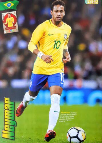 Neymar Poster im Brasilien Paris Saint Germain Trikot WM 2018 Gr A4!