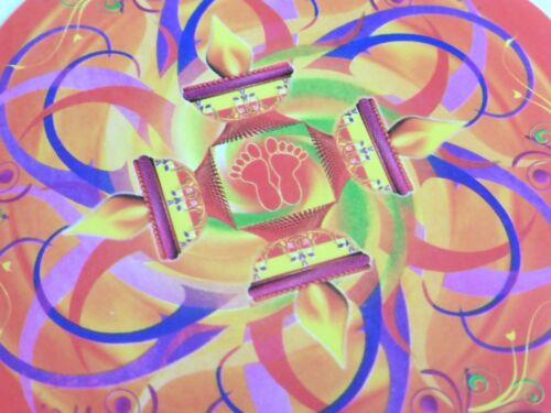 Belle coloré Ronde Diwali Lakshmi Pieds Autocollant une face 9.6 cm