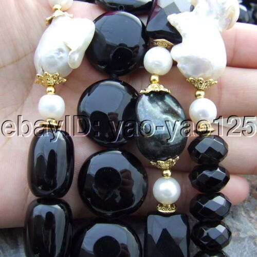 "S112907 19/'/'-26/"" 4 Strands White Keshi Pearl Onyx Necklace"
