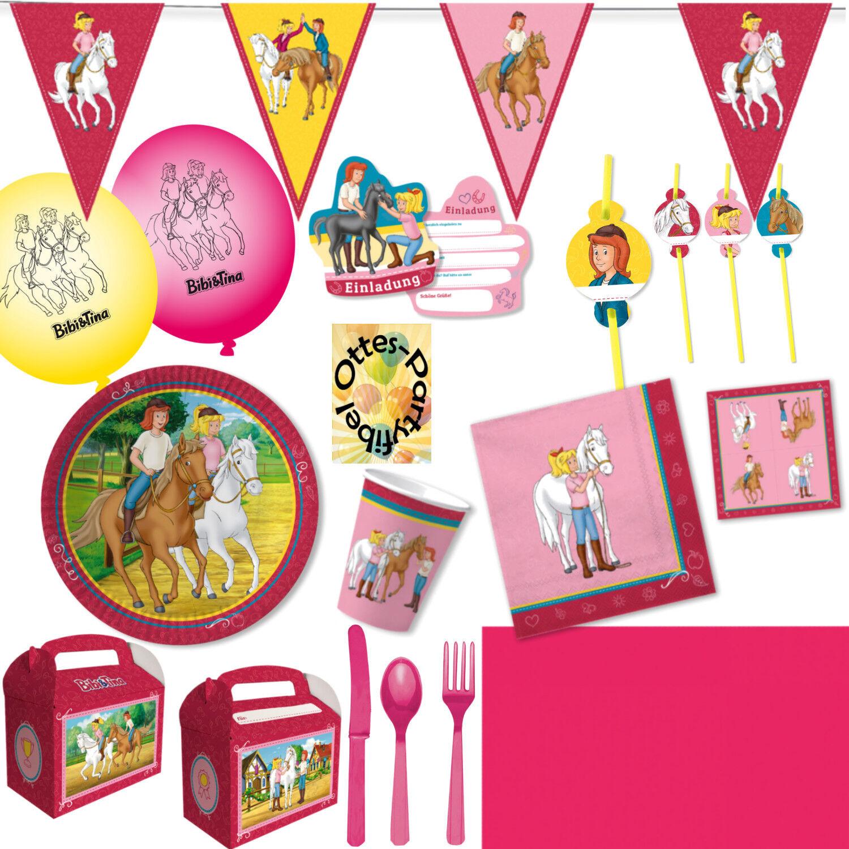 Bibi Und Tina Partyset 151tlg. f.12 Kids Teller Becher Servietten Einladung Deko