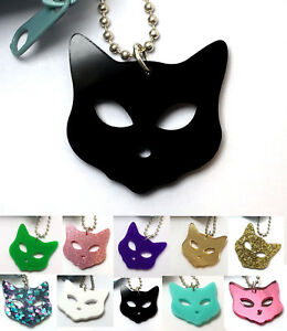 Cat-Keyring-Bag-Charm-Laser-Cut-Acrylic-Novelty-Gift-Ideas-Choose-Colour