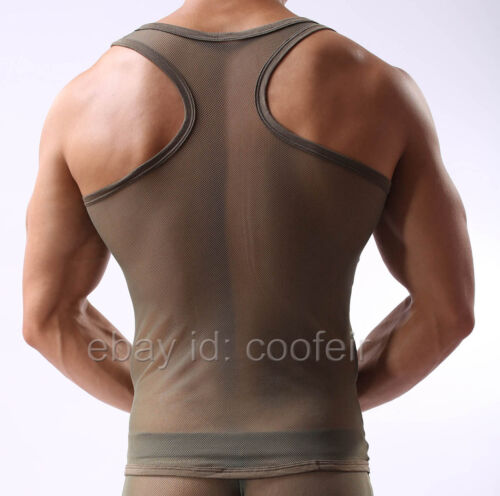 Men/'s Stretch See-through Mesh Vest Underwear Slim Fit  Muscle Tank Top Vest