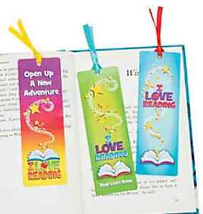 Pack of 12 I Love Reading Bookmarks Stationery School Teacher Supplies