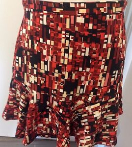 Ladies-Skirt-Multi-Coloured-Flip-Style-Short-Stretch-Fun-Geometric-Print-Sz-MAu