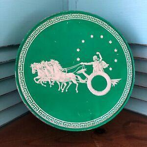 Vintage-Green-Round-Tin-Embossed-With-Roman-Grecian-White-Horses-And-Chariot