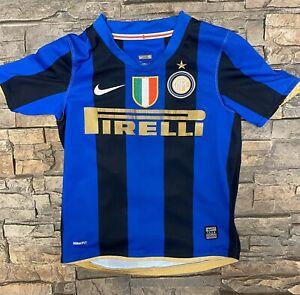 Nike-Inter-Milan-Youth-Sz-S-Soccer-Jersey-Nike-FitDry-Pirelli