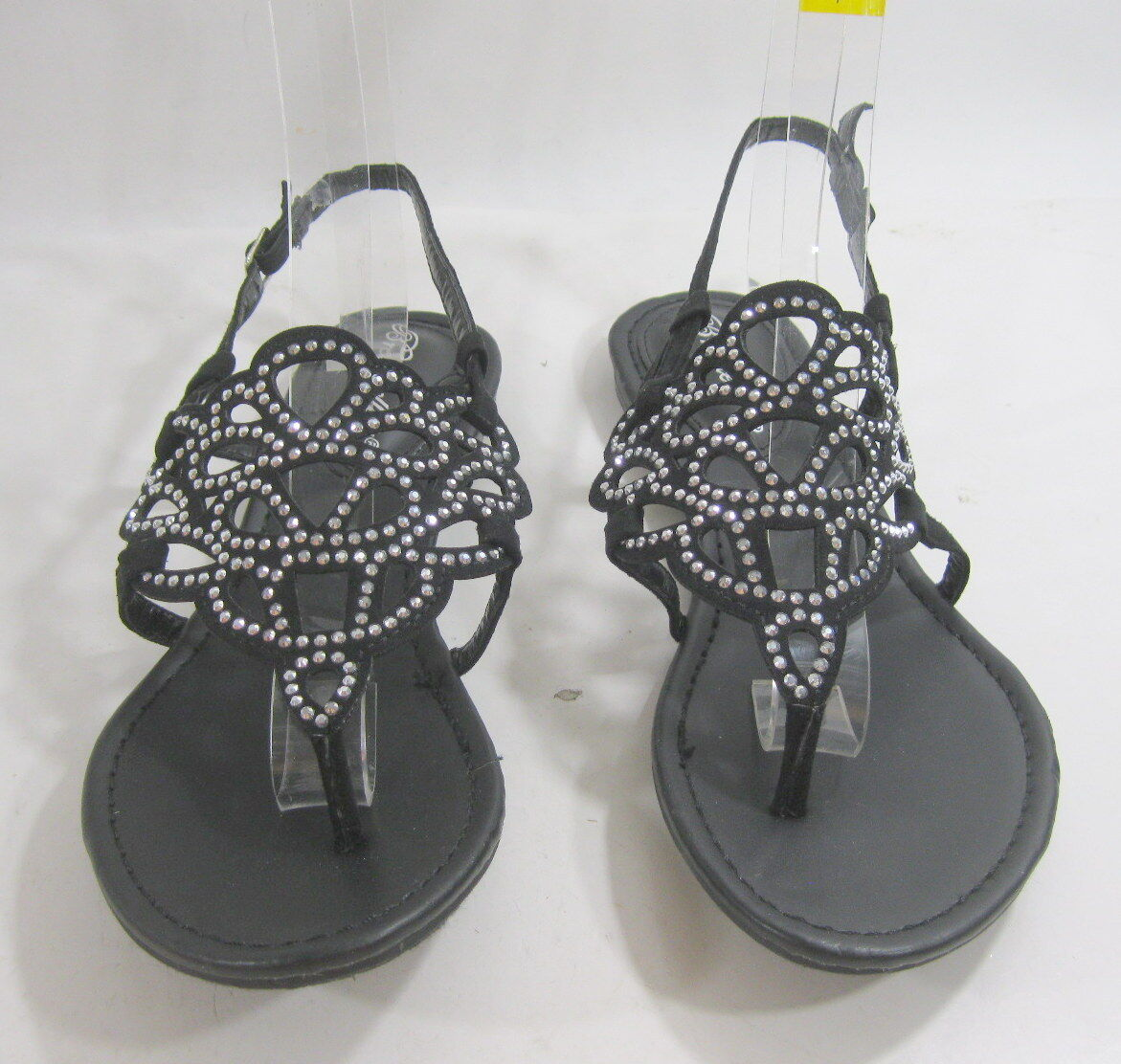Summer Black Sexy Rhinestone Womens Shoes Roman Gladiator Sexy Black Sandal Size 8.5 a12444