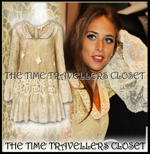 12 Ivory Lace Boho Crochet Moss Antique Kate Topshop Victorian Indian Dress Uk10 wvnymN80OP