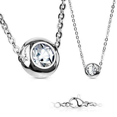 FäHig Halskette Edelstahl, Stainless Steel In Silber Mit Solitär Zirkonia Klar-weiß Reine WeißE