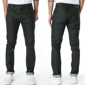 Nudie-Herren-Slim-Fit-Raw-Denim-Stretch-Jeans-Hose-Thin-Finn-Dry-Black-Coated