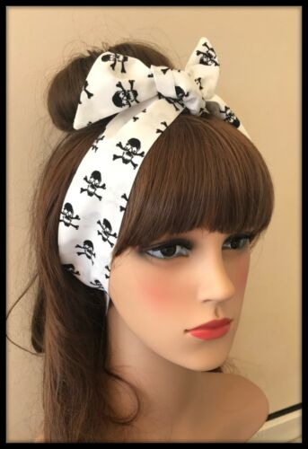 Headband Bandana Skull Crossbones Fabric Headscarf Bow Pirate Dress Costume Goth