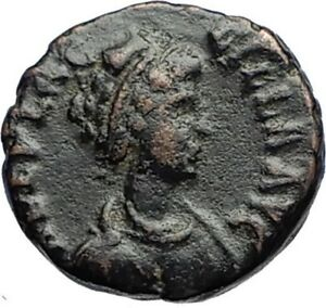 AELIA-FLACILLA-Theodosius-I-Wife-383AD-Ancient-Roman-Coin-VICTORY-CHI-RHO-i69657