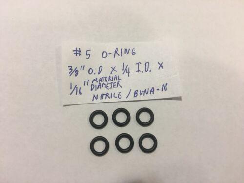 """6 pack Nitrile//Buna-N 3//8/"""" OD x 1//4/"""" ID x 1//16/"""" Material Diam. #5 O-rings"""