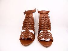 cd7c55a317 Bamboo Stash-02V Women's Shoes Woven Strappy Chunky Heel Sandal Cognac Size  ...