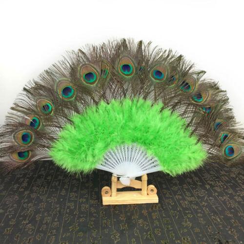 Big Folding Feather Hand Fan Peacock Eye Dance Costume Party Show Fancy Ball