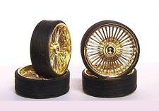 Hoppin Hydros 1/24 MONSTER 24 PLAYAZ GOLD Rims Wheels Low Pro Tires Model Car