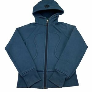 Lululemon Scuba Hoodie Women Sz 2 Full Zip Sweater Steel Blue / Green Inner