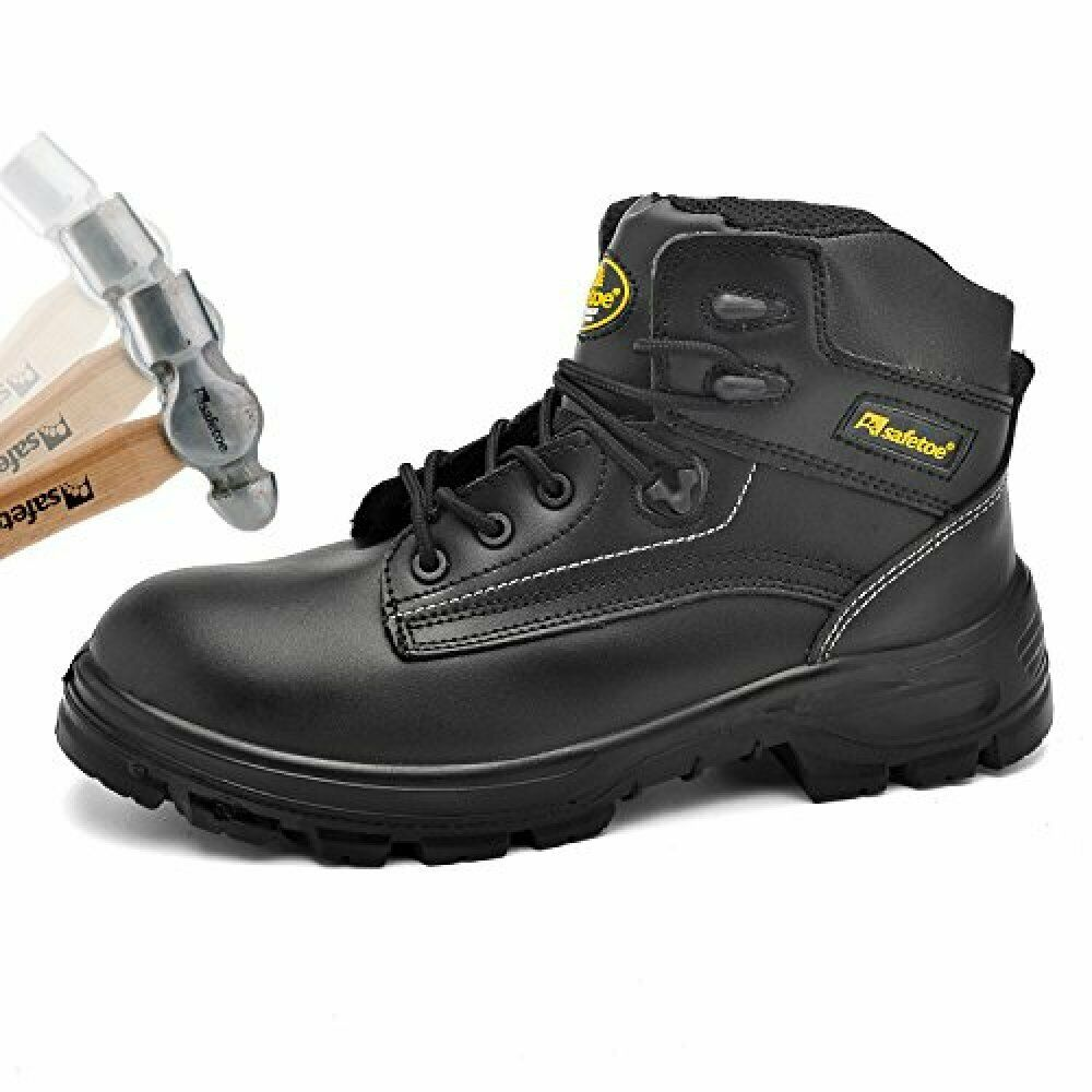 SAFETOE Mens Safety Boots Work shoes - M8356B Black Waterproof Leather Work Boot