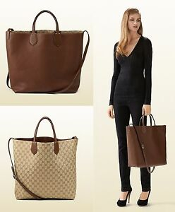 Gucci Ramble Reversible Tote Leather Large qhH17h6aU