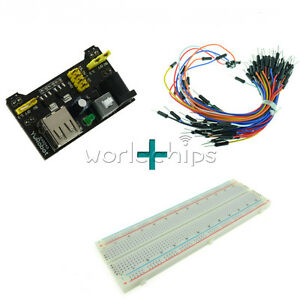 MB102-Power-Supply-Module-3-3V-5V-Breadboard-Board-830-Point-65PCS-Jumper-cable