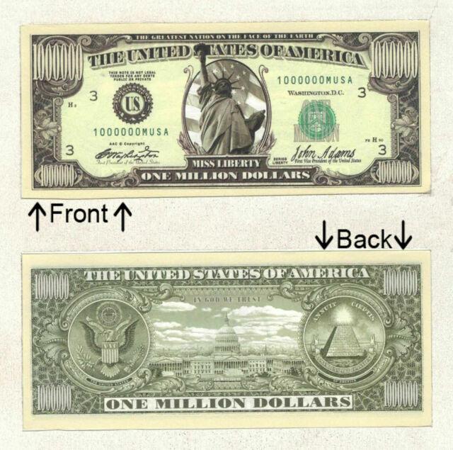 25-2nd Amendment Million Dollar Bills-Gun Rights To Bear Arms Novelty MONEY-A1