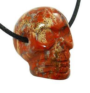 Brecciated-Jasper-Skull-Pendant-Necklace-Natural-Chakra-Reiki-Healing-Stone