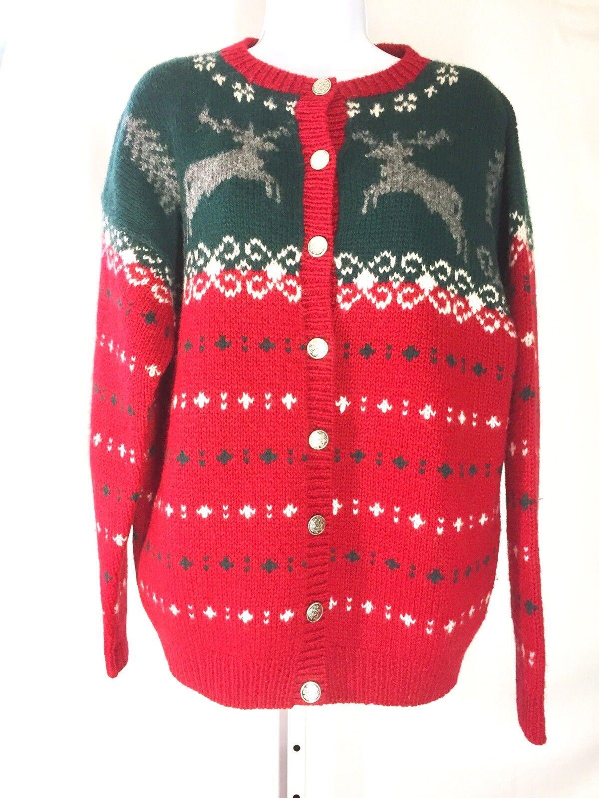 Eddie Bauer Bauer Bauer Vintage  Womens Cardigan Christmas Sweater Size Medium Reindeer 971335
