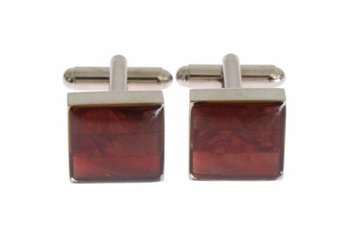 NEW $200 DOLCE /& GABBANA Cufflink Silver Brass Square Red Stone Mens Accessory