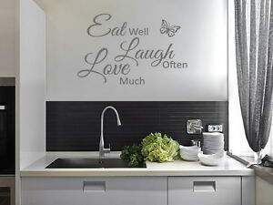 Image is loading Kitchen-Wall-Quote-034-Eat-Laugh-Love-034- & Kitchen Wall Quote