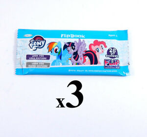 Lot of (3) My Little Pony Flip Book Blind Pack 30 Page Flip