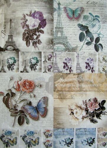 Rice Paper for Decoupage Scrapbook Crafting Paris Towers Roses 379