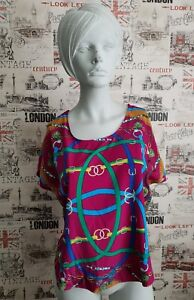 Chain-print-Silk-look-multicoloured-top-blouse-size-M-12-UK