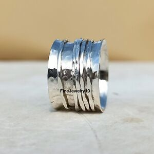 925-Sterling-Silver-Spinner-Ring-Wide-Band-Meditation-Ring-Handmade-Ring-A158
