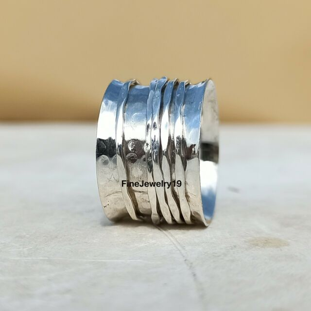 925 Sterling Silver Spinner Ring Meditation Ring Statement Ring Jewelry A169