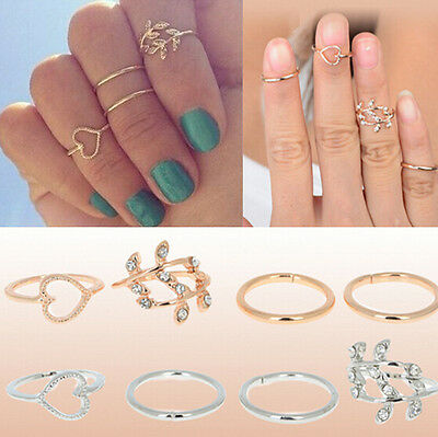 Urban Gold Plated Crystal Plain Above Knuckle Ring Band Midi Ring 4PCS HS