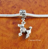 Poodle Charm With Paw Slider Bead For Silver European Charm Bracelet Or Necklace
