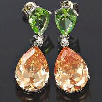Celebrity Inspired Green Emerald Champagne Prom Teardrop Dangle Earrings