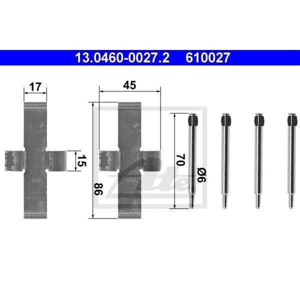 13.0460-0027.2 Zubehörsatz für Scheibenbremsbelag ATE