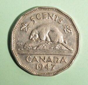 1947-Canada-5-Cent-Nickel-Circulated-Nice-Coin-Album-Collectable
